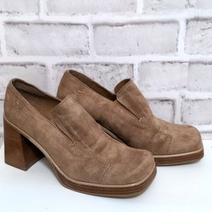90's Y2K Transit Square Toe Stacked Heel Shoes 38